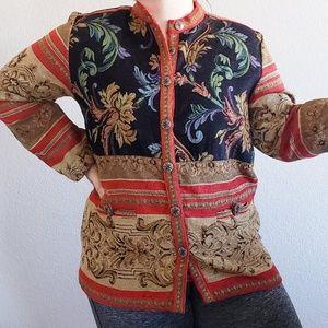 Vintage   Sag Harbor Floral Carpet Print Jacket